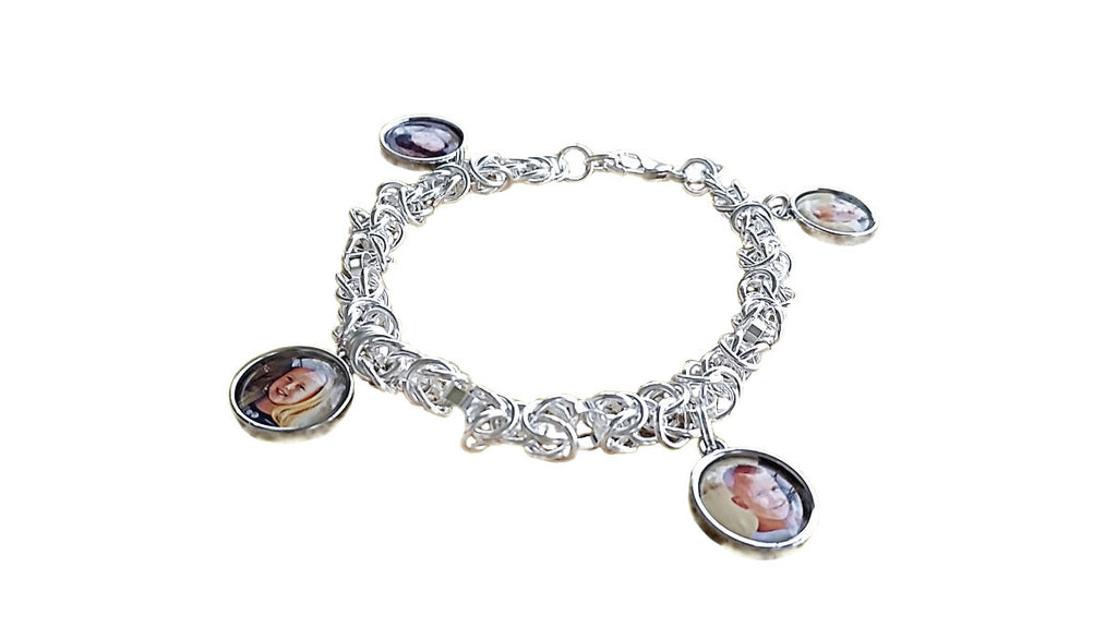 Photo Charm Bracelet..Sterling Silver Photo Chain Mallie Bracelet with 3 Photo Charms.