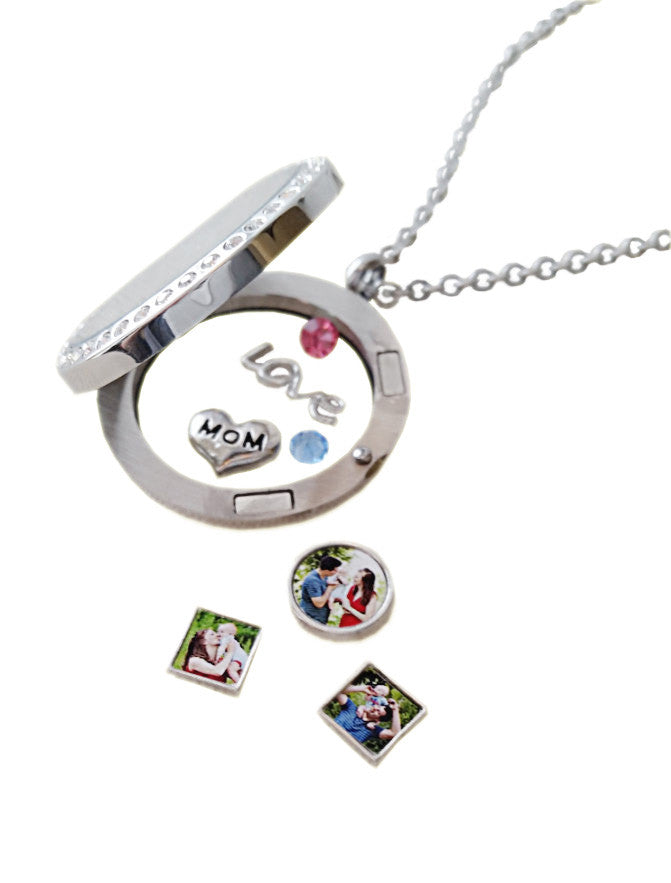 Mom Floating Charms / Locket Mom Charm / Photo Charms Magnetic Locket Necklace /Personalized /Pics2Jewels / Mothers Day Gift Unique Mom Gift