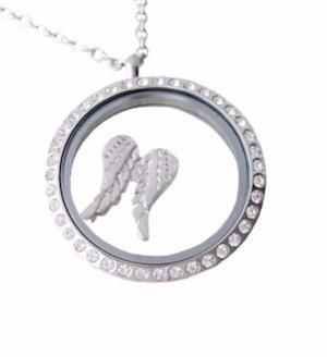 Angel Wing Floating Charm / Locket Angel Charm /Memorial Photo Charms Magnetic Locket Necklace/Personalized / Pics2Jewels / Mothers Day Gift