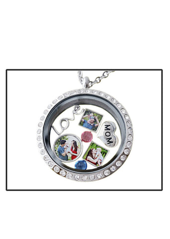 Floating Charms/3 Floating Locket Charm/Locket Necklace Photo Charms /Photo Rhinestone Locket/Locket Charms/Unique Mothers Day Gift/Mom Gift