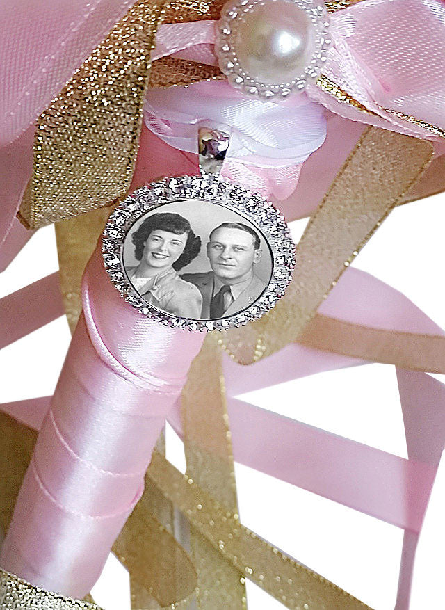Wedding Bouquet Photo Charm Bridal Bouquet Memorial Photo, Wedding Accessories Rhinestone Bouquet Charm,Bridal Keepsake, Memorial Jewelry
