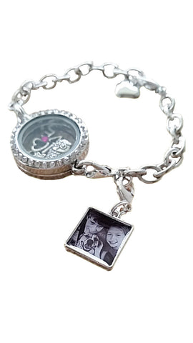PHOTO CHARM.....Sterling Silver Round/Square Photo Charm for Charm Bracelet.
