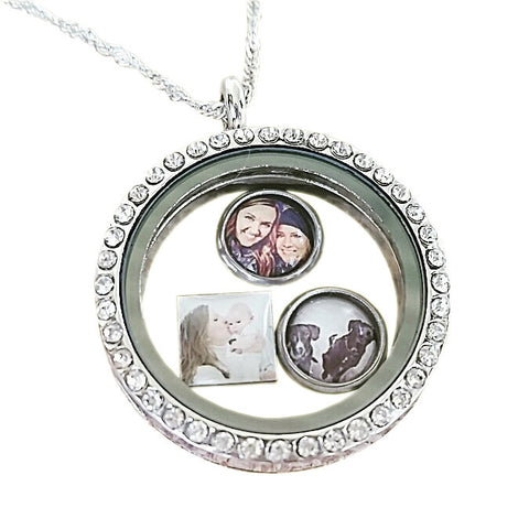 Photo Locket/Photo Locket Necklace /Memorial Locket Floating Photo Charm Necklace With 3 Floating Charms/Necklaces For Women Birthday Gift