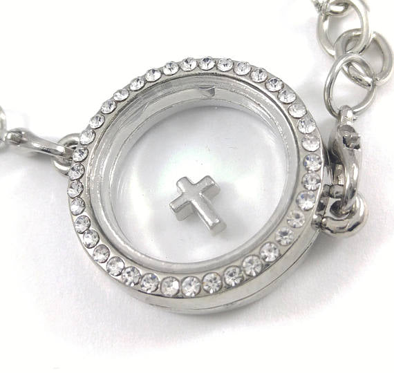 Silver Cross Floating Locket Charm, floating charms, magnetic locket charm. memory locket gift religious charm