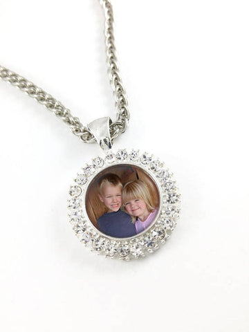 Rhinestone Photo Charm Necklace, Rhinestone Bling Necklace Pendant, Rhinestone Photo Frame, Personalized charm