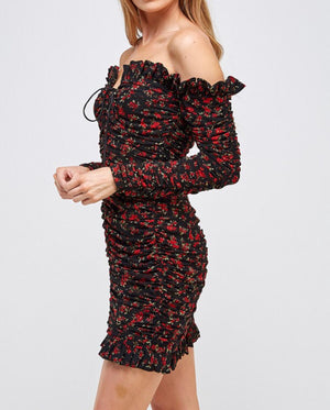 Black Floral Shirring Dress