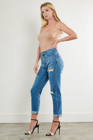Thrills Mom Vibrant Jeans with Distress