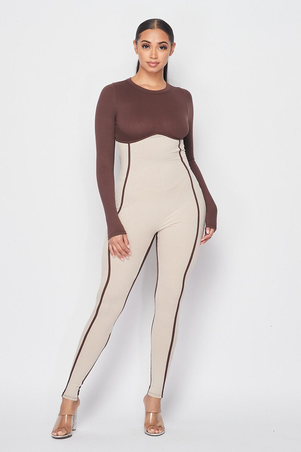 Brown and Beige Jumpsuit