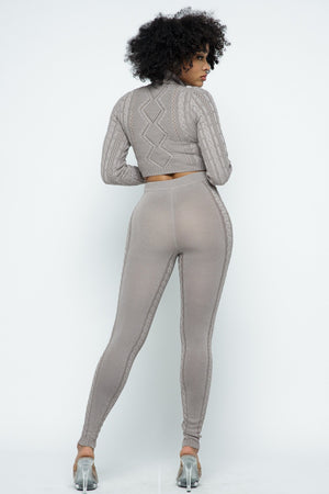 Turtle Neck Cable Knit Legging Set
