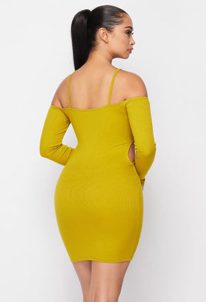 Off Shoulder Mustard Dress