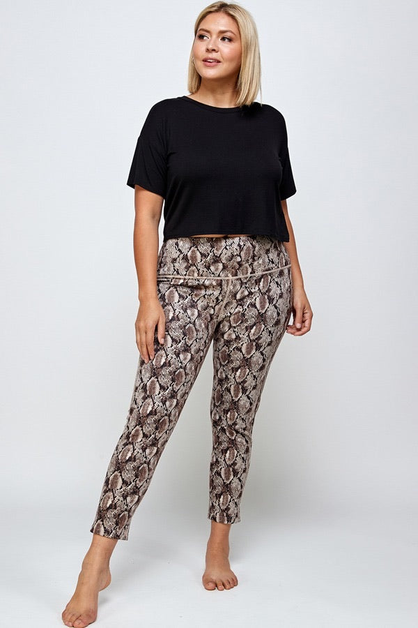 Washed Twill Snake Print Legging