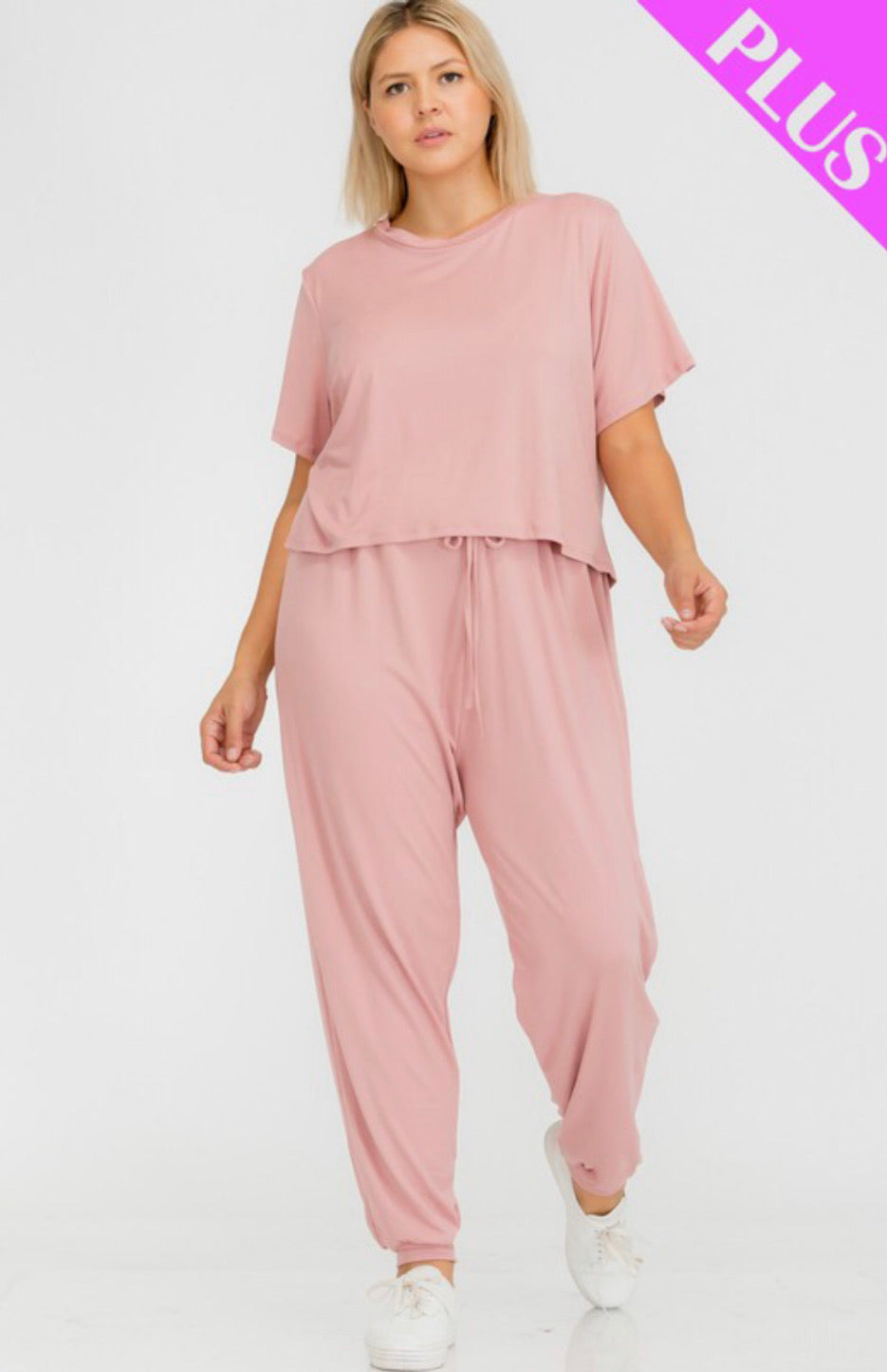 Plus size basic top and pants set
