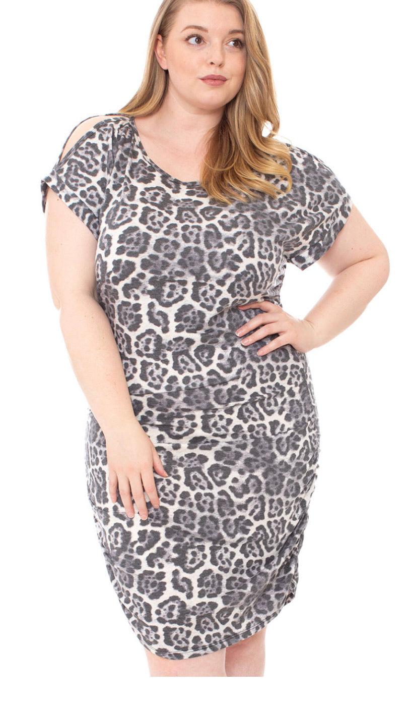 Leopard Print Soft Fabric Plus Size Mini Dress