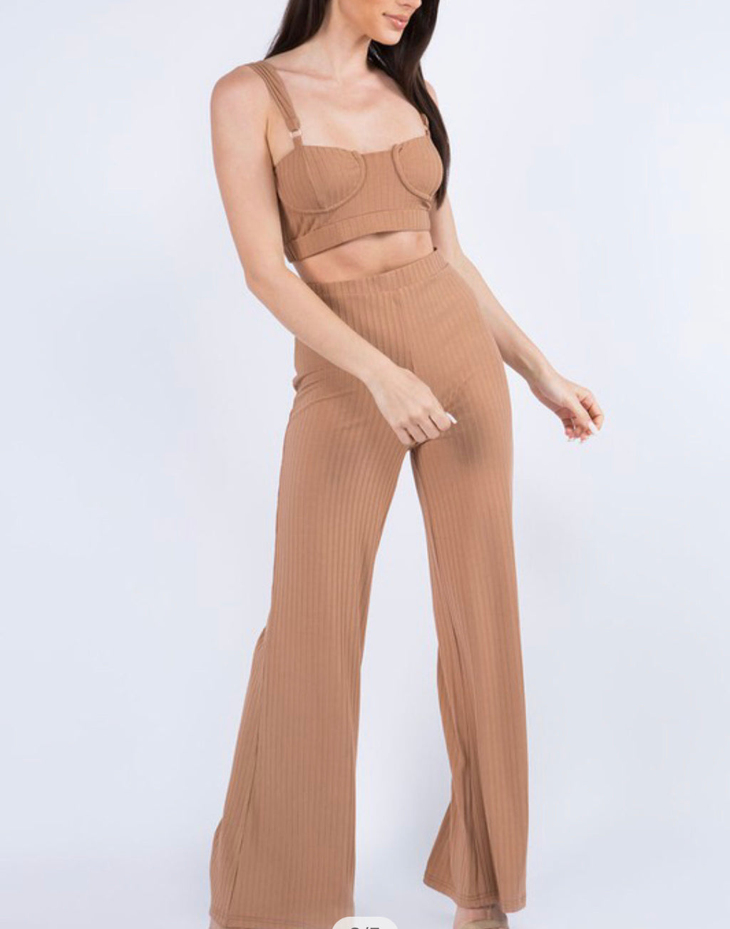 Ribbed Bralette Top and Palazzo Pants Set