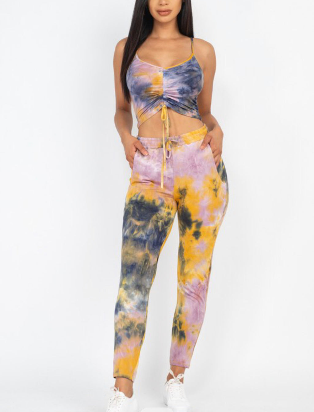 Tie-Dye Ruched Crop Top And Pants Set