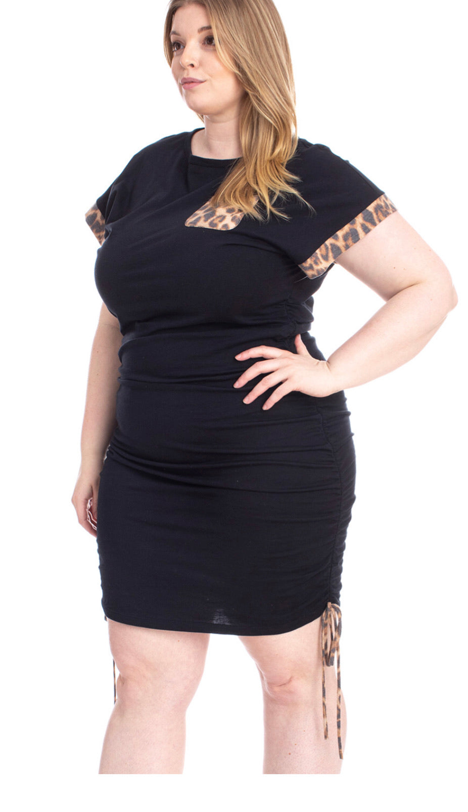Two Tone Detailed Plus Size Mini Dress