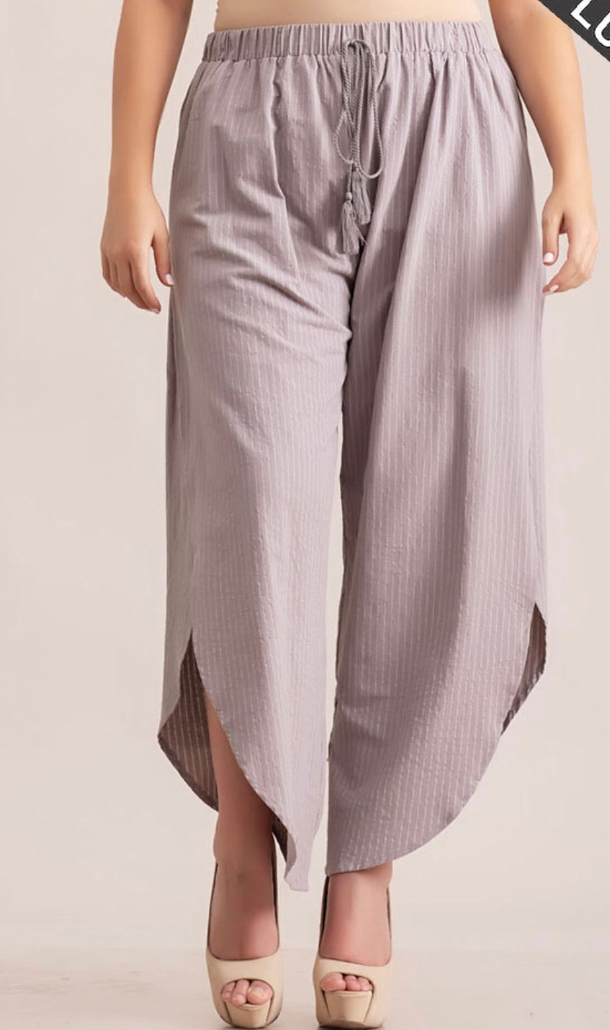 Stripe Print Draw String Gathered, Side Slit Detail Loose Fit Casual Pants