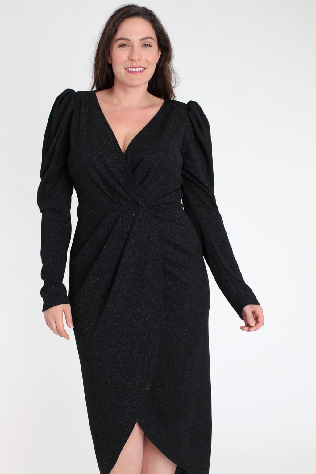 Plus Size Mini Black Dress