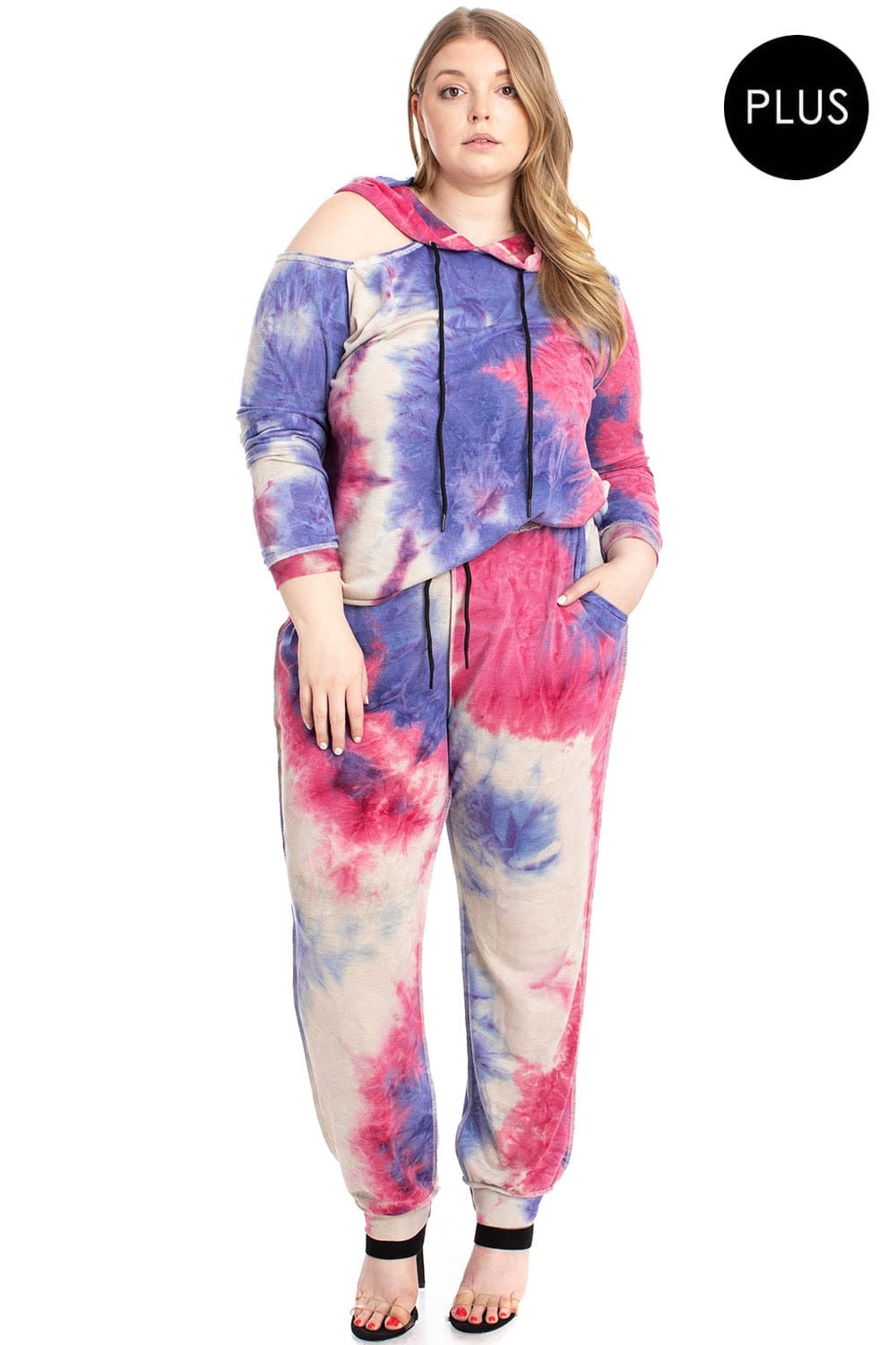 Tie Dye Shoulder Cutout Sweatpants Plus Size