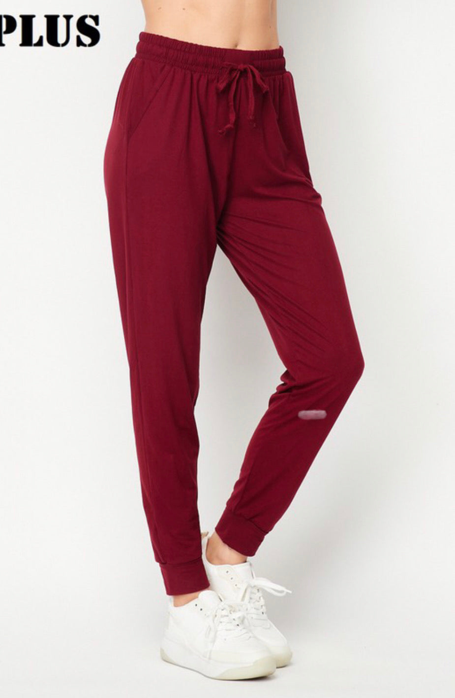 Plus Solid brushed jogger pants with pockets