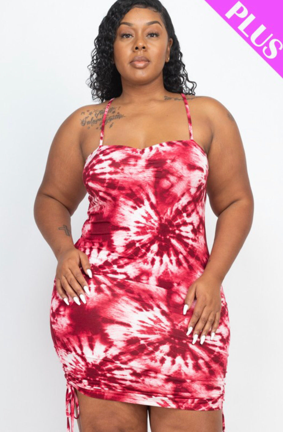 Plus size tie-dye strap ruched dress