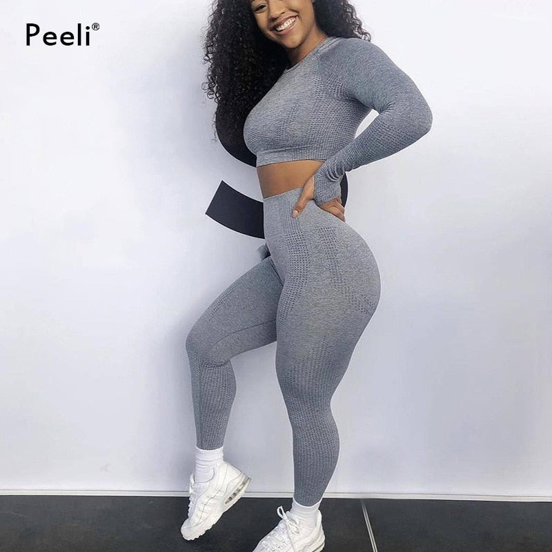 Women  Yoga Long Sleeve Gym Seamless Set