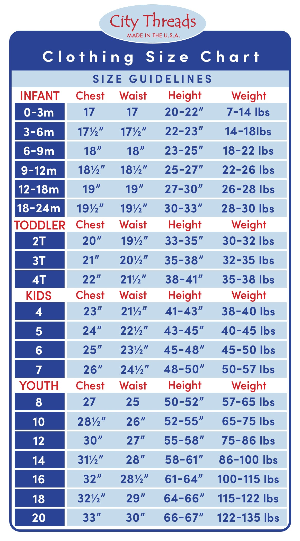 Sizing chart for kids - tops & bottoms