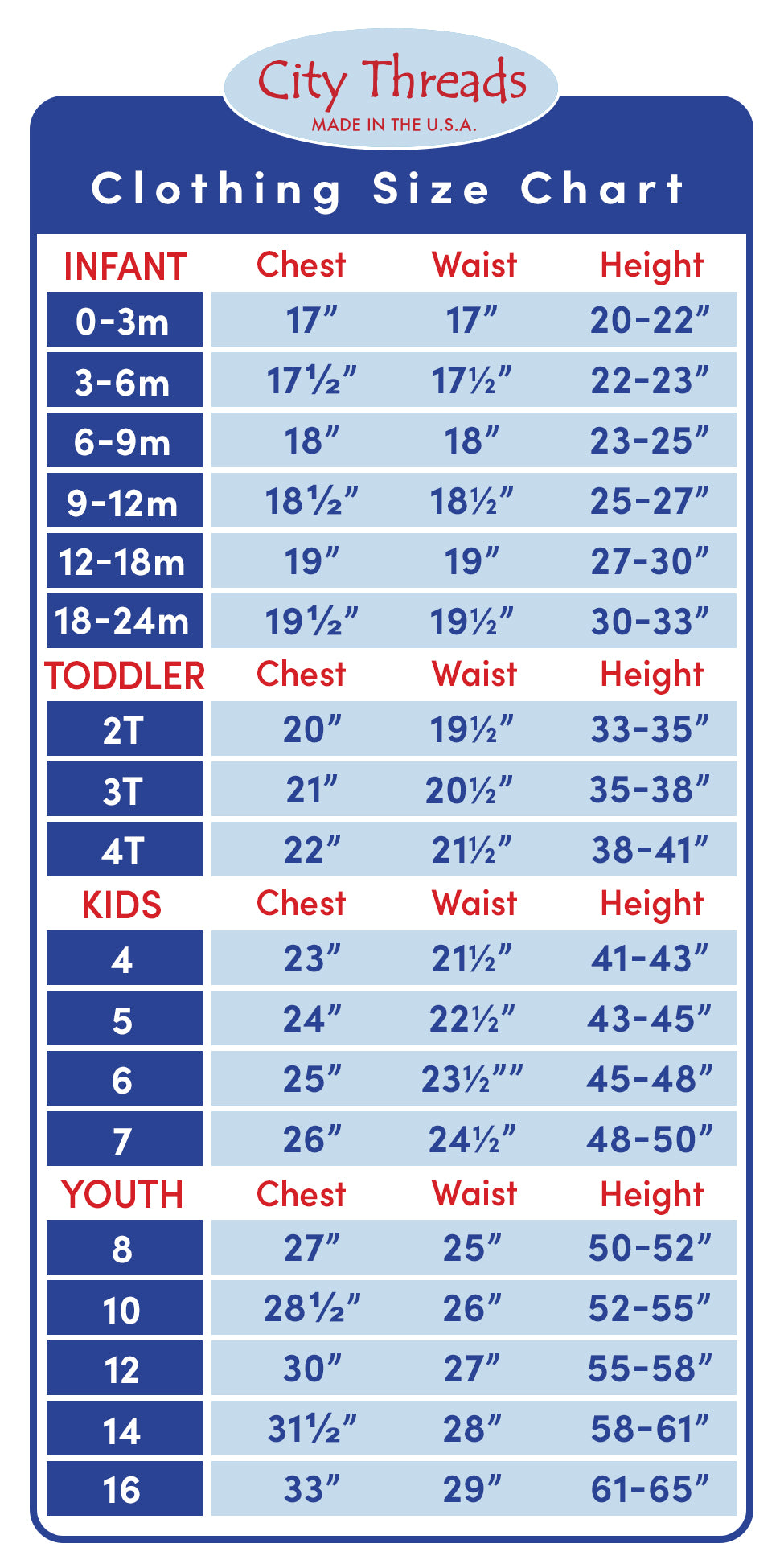 Size Chart for Kids Clothing | City Threads | Made in USA