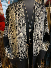 Load image into Gallery viewer, Long patterned duster cardi in black and beige
