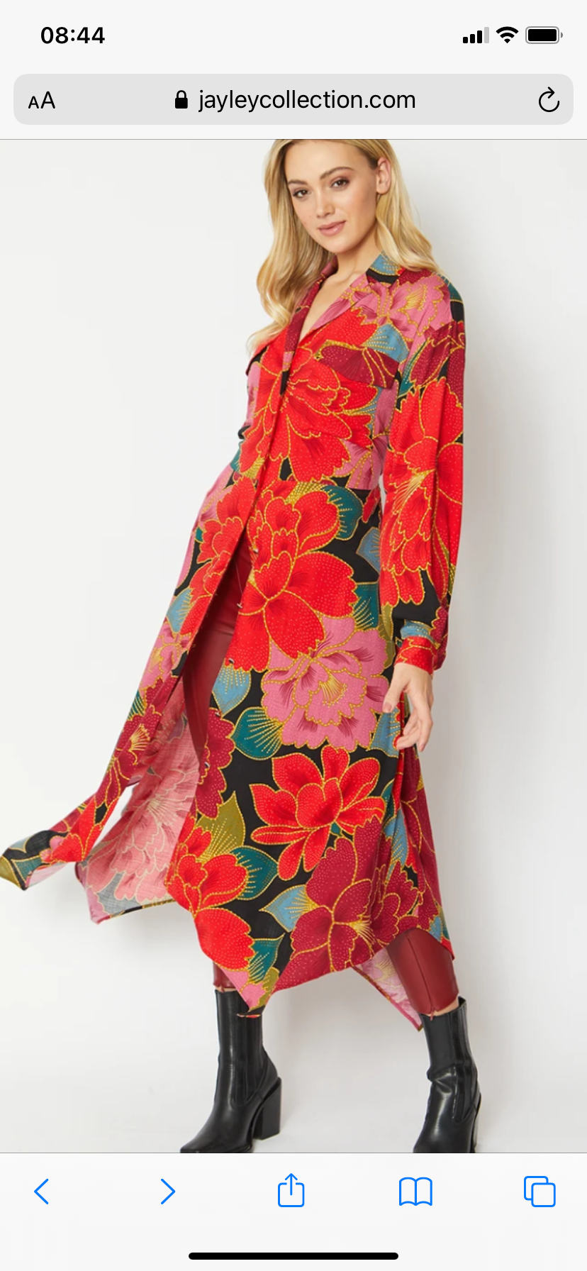 Silk blend maxi shirt dress