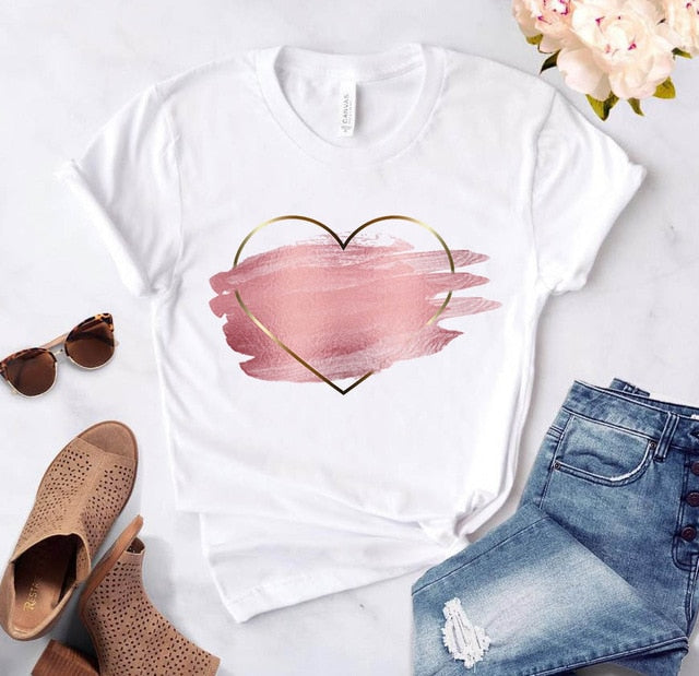 Heart Flower Print T-shirt Harajuku Casual Woman Tshirts Top Shirt Short Sleeve T-shirt Aesthetic Love Graphic Women T-shirt