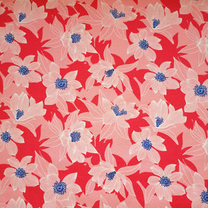 tricot bloemen roze/rood/blauw tropical flowers