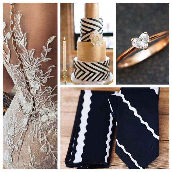 Black and white African print wedding necktie for groom