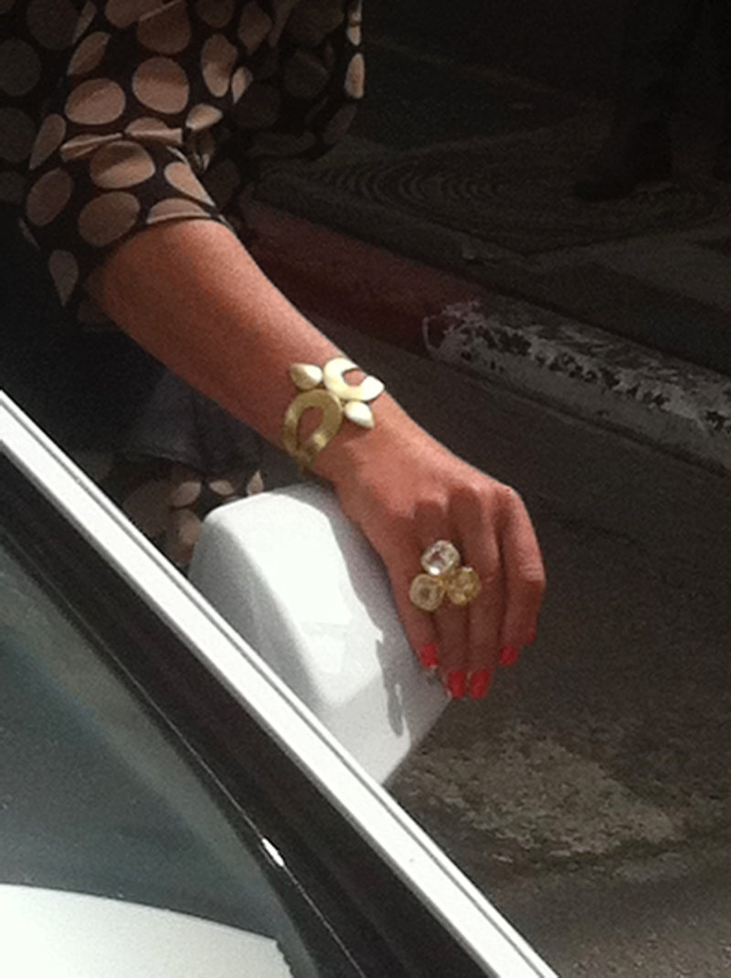 Eclectic  statement gold bracelet.