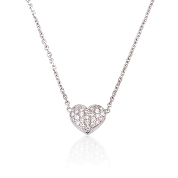Dainty diamond pave puffed heart necklace
