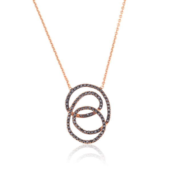 Eternity black diamond pave necklace