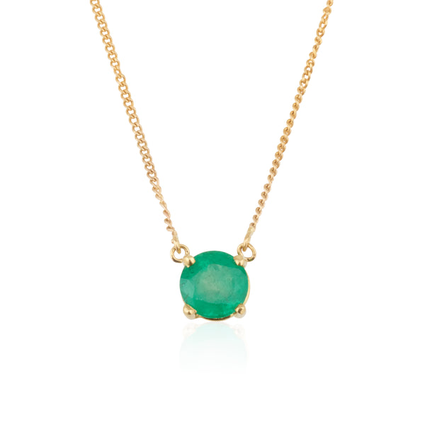 Emerald Accent necklace | four prong setting