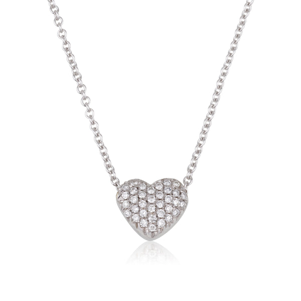 Diamond pave puffed heart necklace