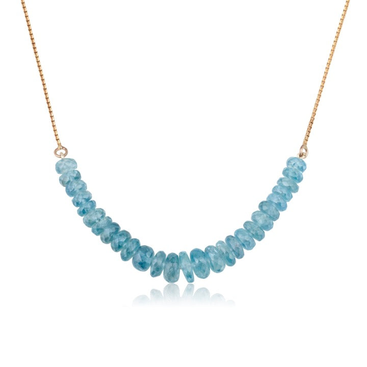 Natural blue Zircon beads necklace
