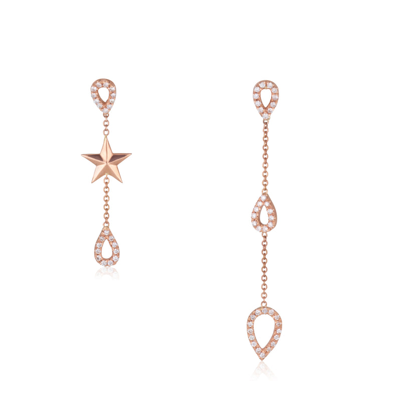 Starlight decadent diamond hoop earrings with gold chain.