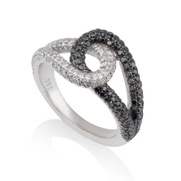 You and Me royal black & white diamond pave infinity ring