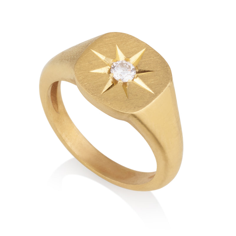 Signature cushion shaped star signet ring
