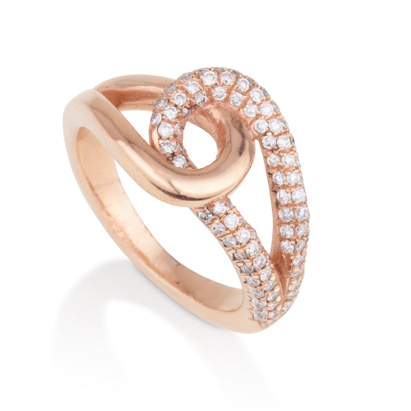You and Me royal rose gold & diamonds pave infinity ring