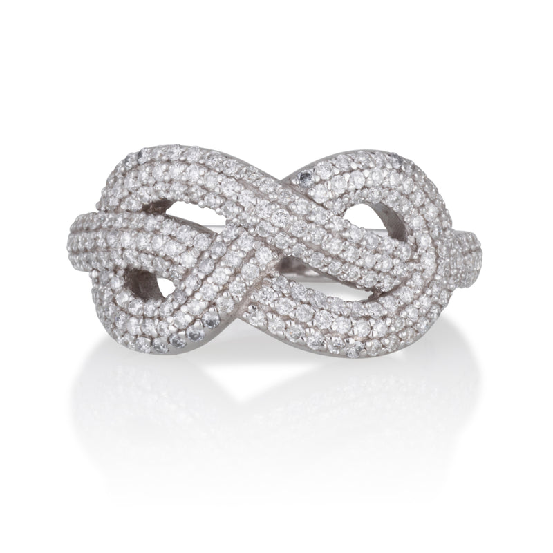 Infinity sculptured love knot ring