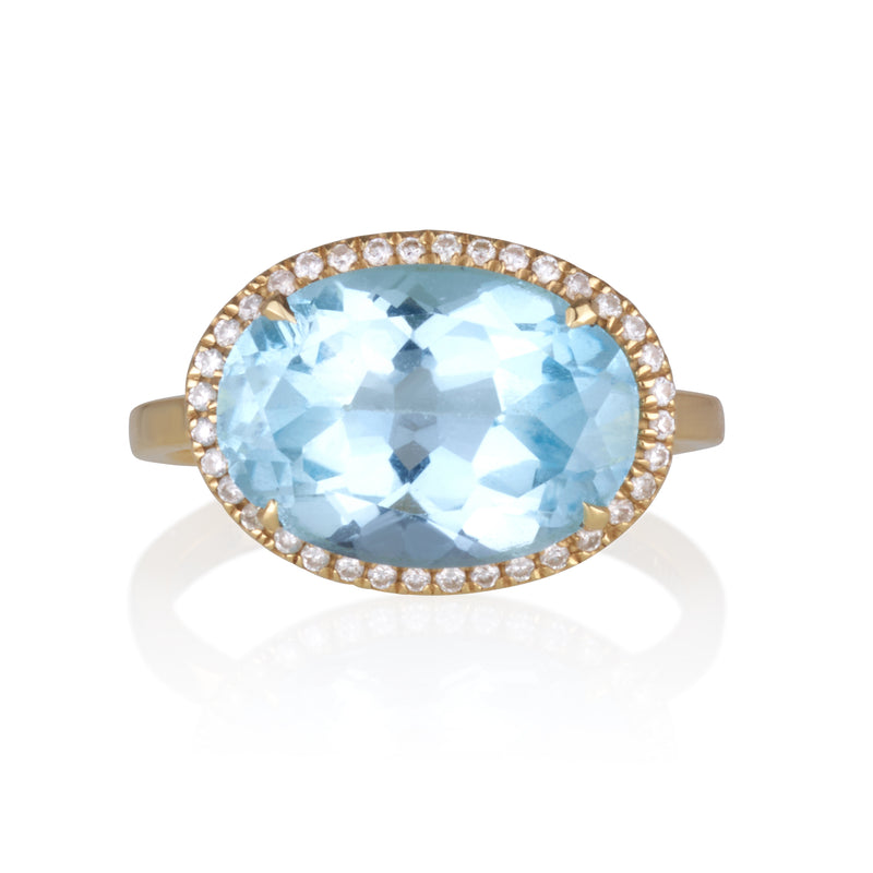 Spectrum | oval Blue Topaz yellow gold solitaire with diamonds