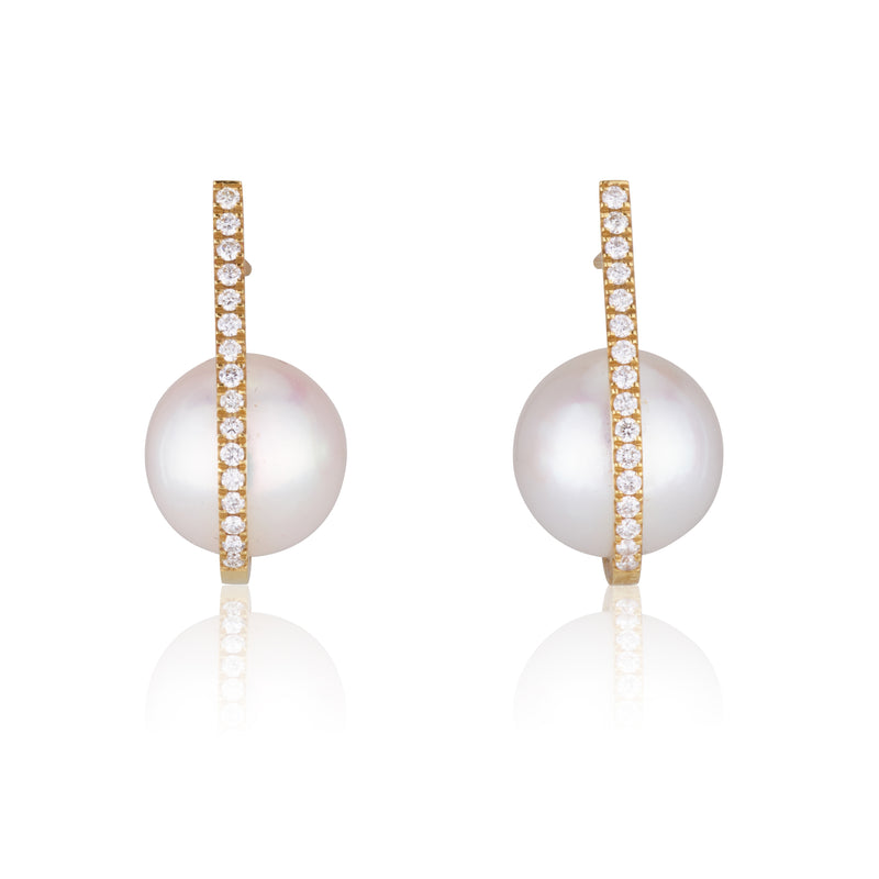Pearls | Diamond bar earrings with pearls