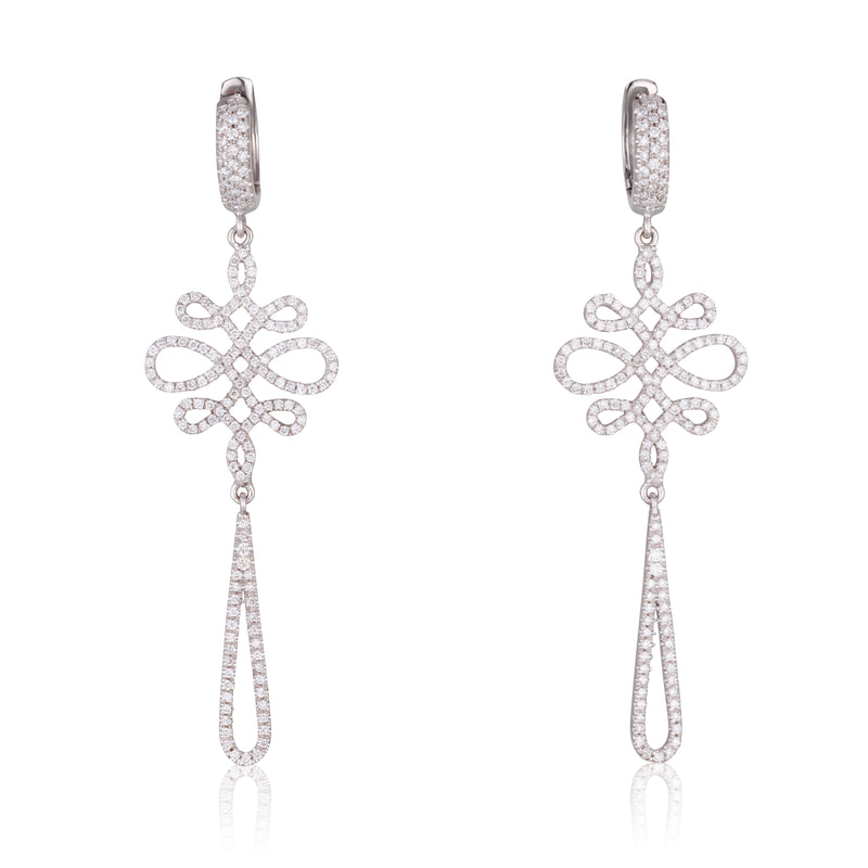 Infinity love dangling earrings with diamonds