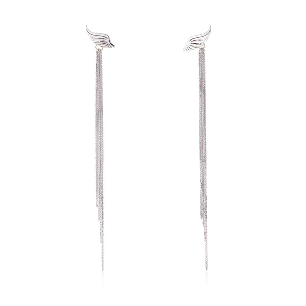 EVITA wings of love earrings with dangling chains