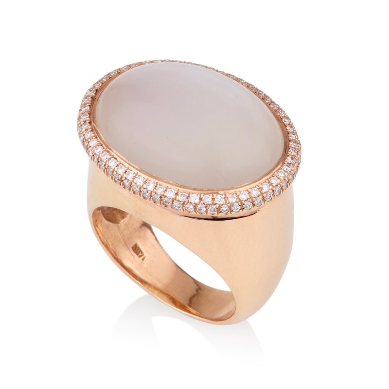 Rose gold oval statement ring with Moonstone and diamond pave