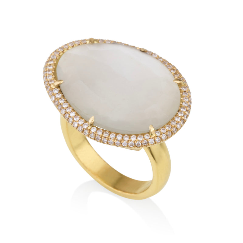 Amorphous Moonstone ring with diamond halo
